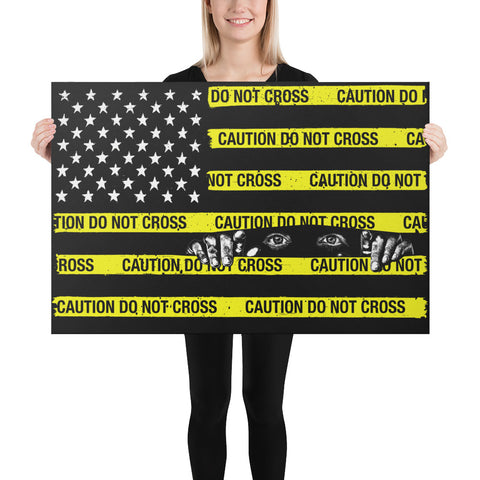 Caution Tape Flag Canvas