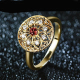 Luxury Natural Garnet 14K 585 Yellow Gold Moissanites Diamond Wedding Band Ring For Women Jewelry