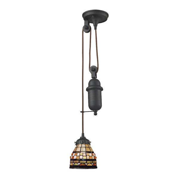 Mix-N-Match 1 Light Pulldown Pendant In Classic Bronze