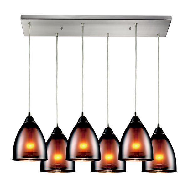 Reflections 6 Light Pendant In Satin Nickel And Black Chrome