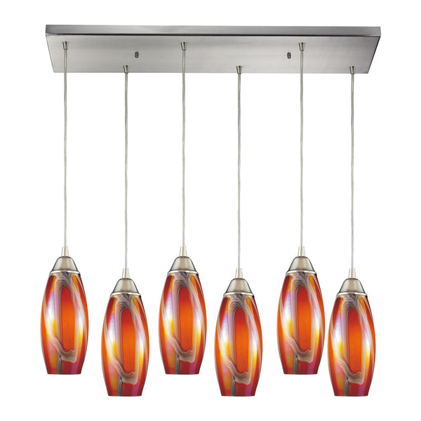 Iridescence 6 Light Pendant In Satin Nickel And Golden Glass