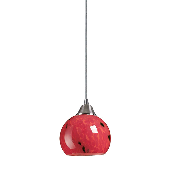 Mela 1 Light Pendant In Satin Nickel And Fire Red