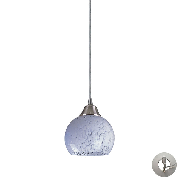 Mela 1 Light Pendant in Satin Nickel And Snow White - Includes Recessed Lighting Kit