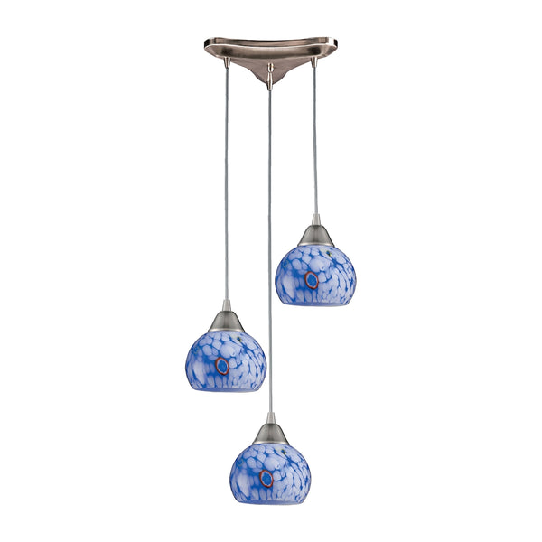 Mela 3 Light Pendant in Satin Nickel And Starburst Blue Glass