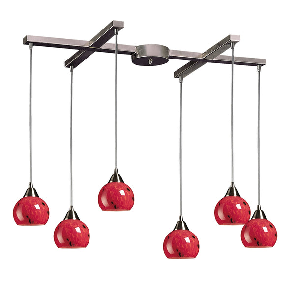 Mela 6 Light Pendant In Satin Nickel And Fire Red Glass