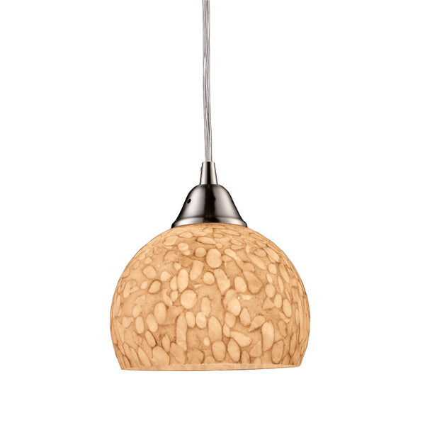 Cira 1 Light Pendant In Satin Nickel And Pebbled Gray-White Glass