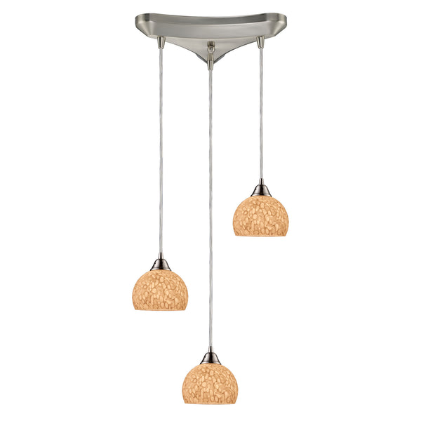 Cira 3 Light Pendant In Satin Nickel And Pebbled Gray-White Glass