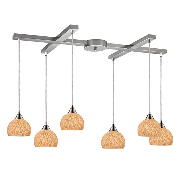 Cira 6 Light Pendant In Satin Nickel And Pebbled Gray-White Glass