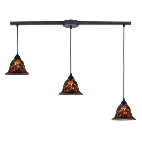 Firestorm 3 Light Pendant In Dark Rust