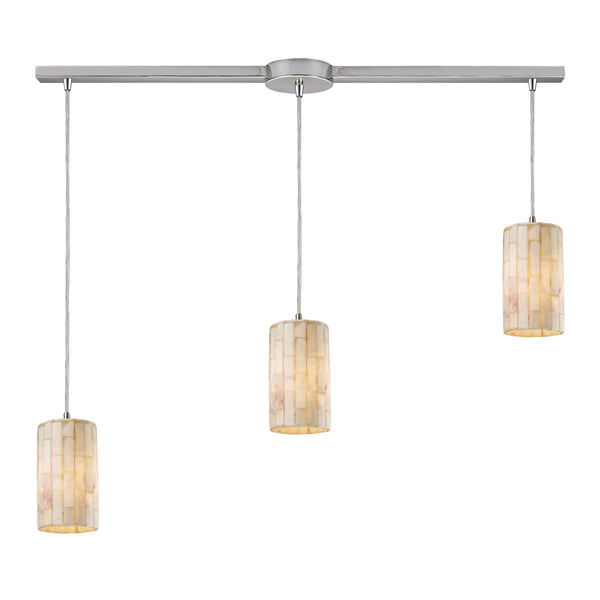 Coletta 3 Light Pendant In Satin Nickel And Genuine Stone