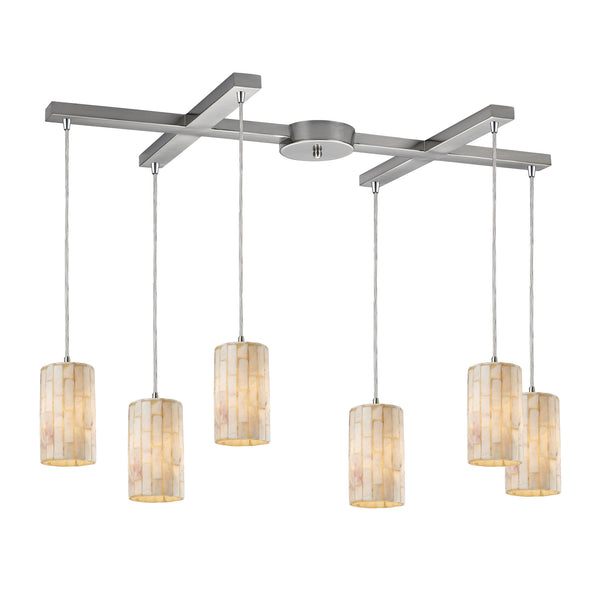 Coletta 6 Light Pendant In Satin Nickel And Genuine Stone