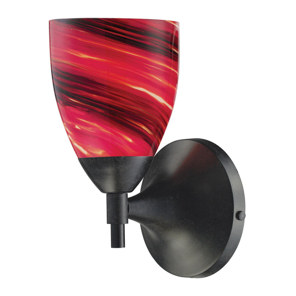 Celina 1 Light Sconce In Dark Rust And Autumn Glass