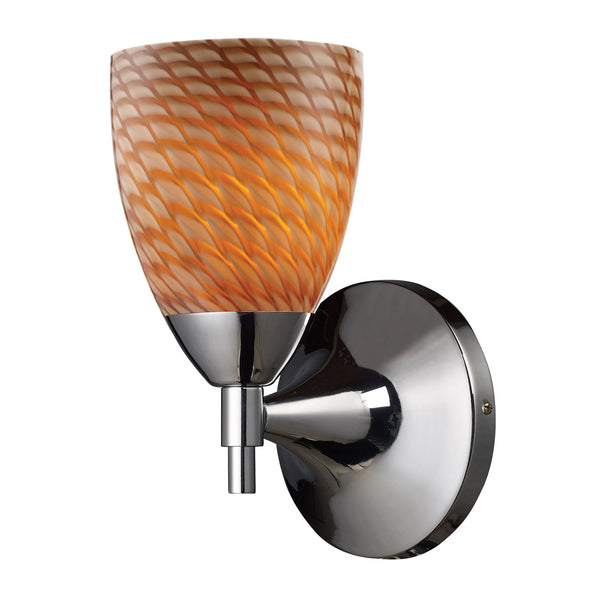 Celina 1 Light Sconce In Polished Chrome And Cocoa Glass