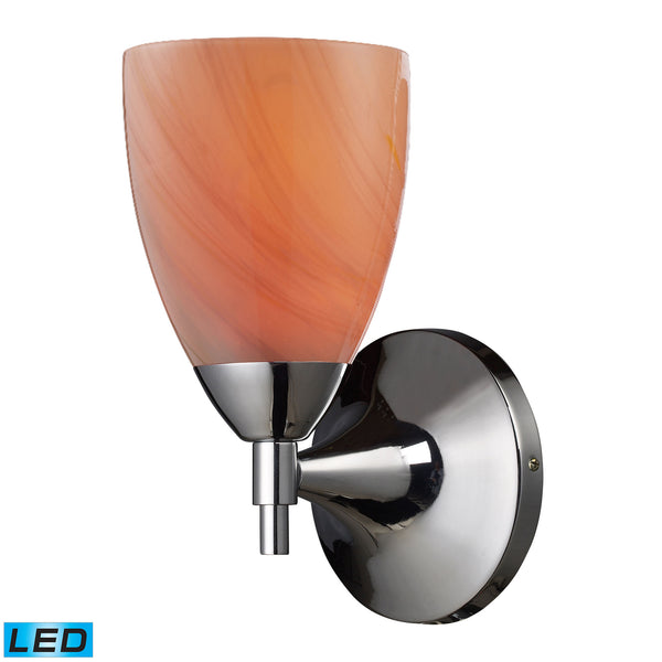 Celina 1 Light LED Sconce In Polished Chrome And Sandy Glass