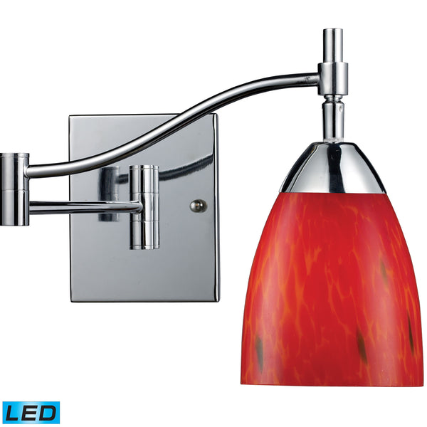 Celina 1 Light LED Swingarm Sconce In Polished Chrome And Fire Red