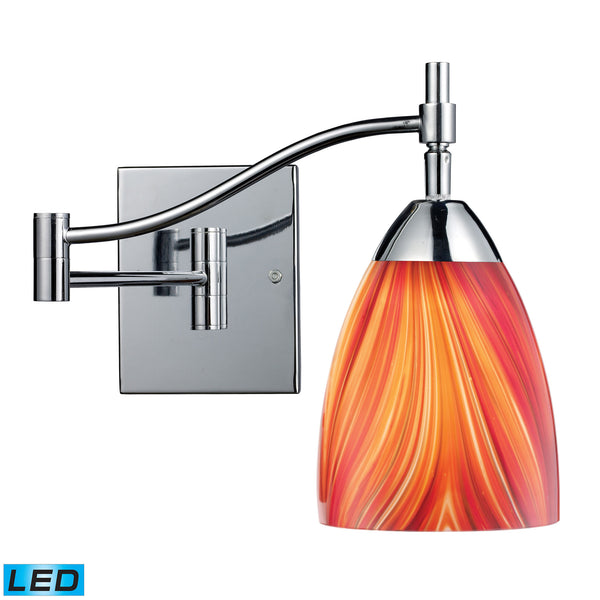 Celina 1 Light LED Swingarm Sconce In Polished Chrome And Multi Glass
