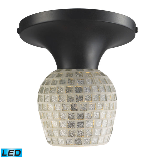 Celina 1 Light LED Semi Flush In Dark Rust And Silver Glass