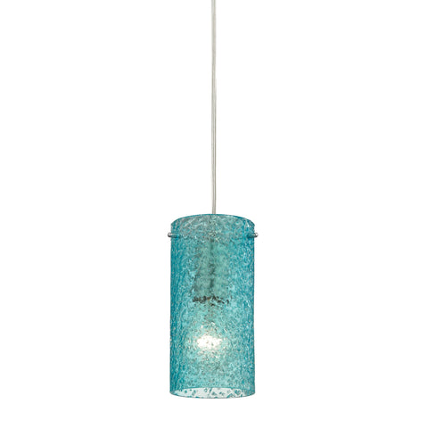 Ice Fragments 1 Light Pendant In Satin Nickel And Aqua Glass