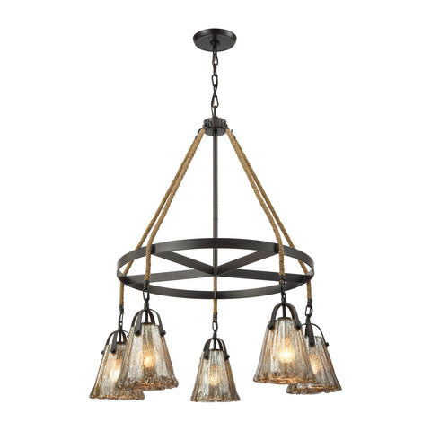 Hand Formed Glass 5 Light Chandelier In Oil Rubbed Bronze
