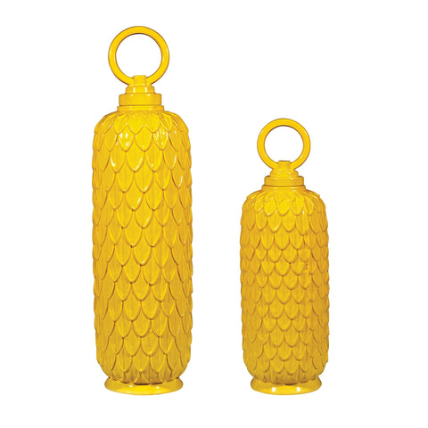 Lidded Ceramic Jars In Sunshine Yellow - Set of 2