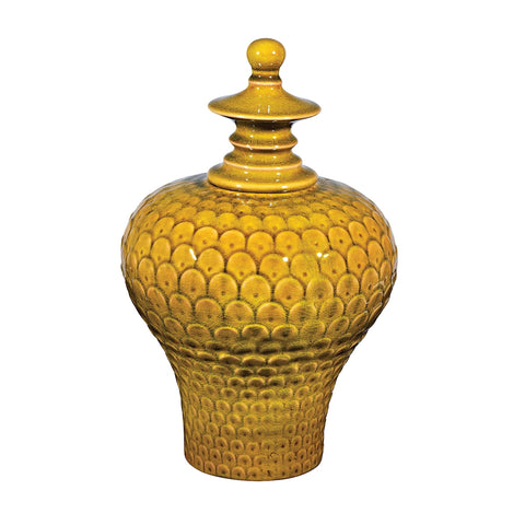 Large Lidded Ceramic Jar In Chartruese Glaze