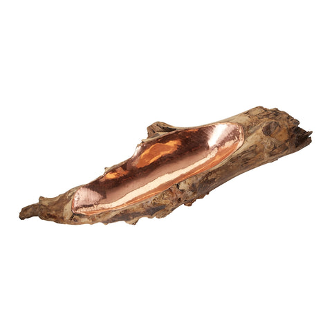 Teak Root Bowl With Copper Insert - Short
