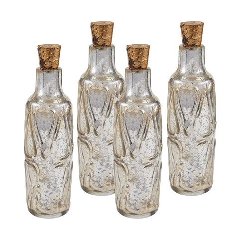 "Set of Four 10"" Mouth Blown Mercury Glass Bottle"