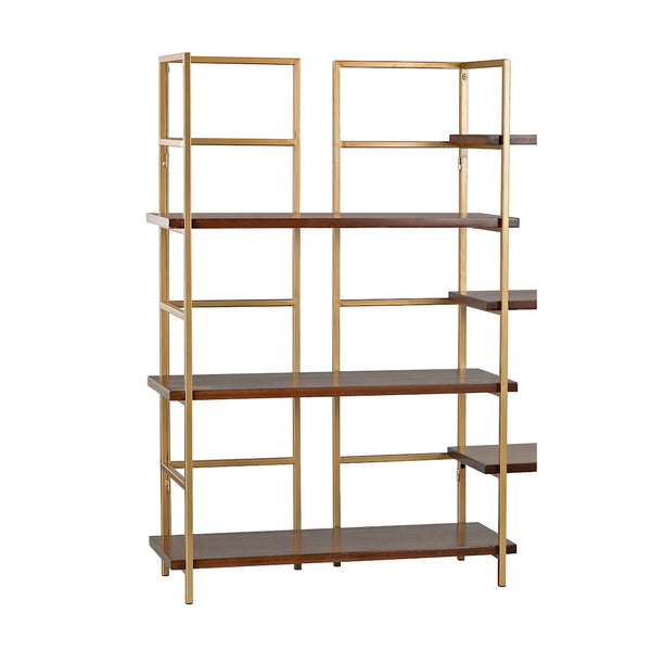 Balart Gold and Walnut Shelf Unit