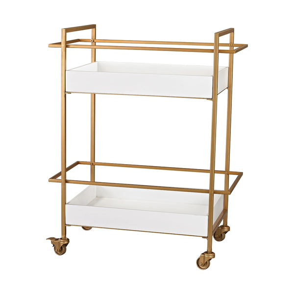 Kline Gold And White Bar Cart