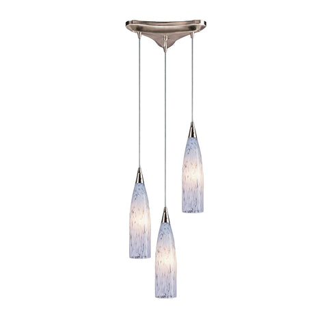 Lungo 3 Light Pendant In Satin Nickel And Snow White Glass