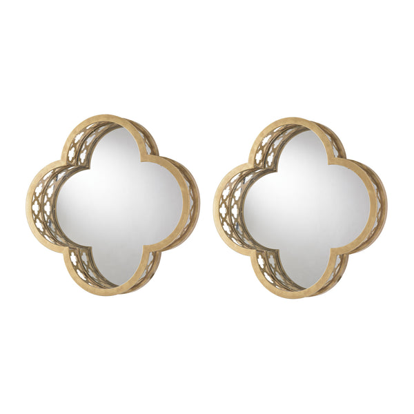 Quatrefoil Wall Mirror In Gold - Set of 2