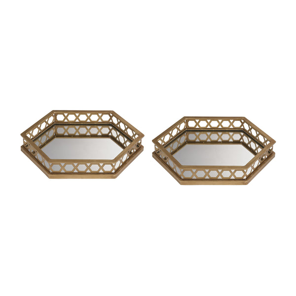 Ribbed Hexagonal Mirrored Trays - Set of 2