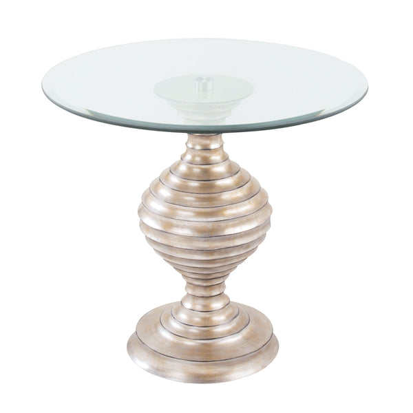 Linea Table In Silver Leaf And Clear Glass