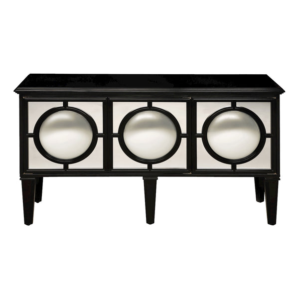 Mirage Convex Mirrored Sideboard In Ebony