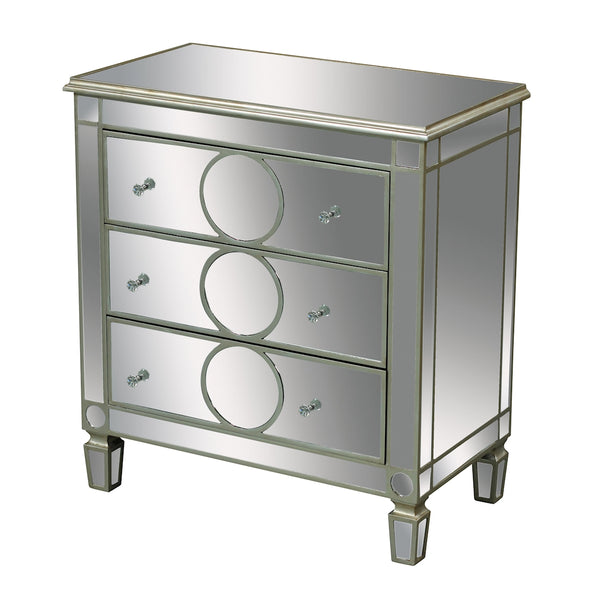 Derin 3-Drawer Chest In Clear Mirror And Champagne Silver Leaf
