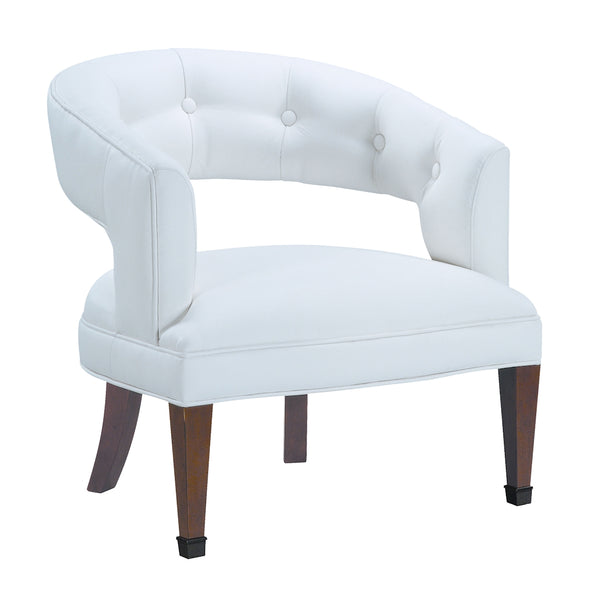 New Hudson Chair In Cherry Finish And White Fabric