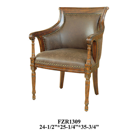 Crestview Kensington Leather Chair CVFZR1309