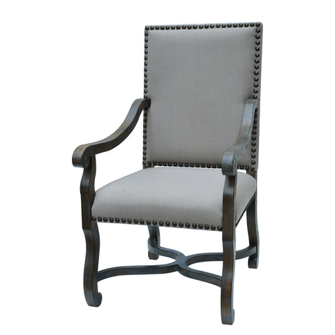 Crestview St. James Nailhead and Linen Chair CVFZR1474