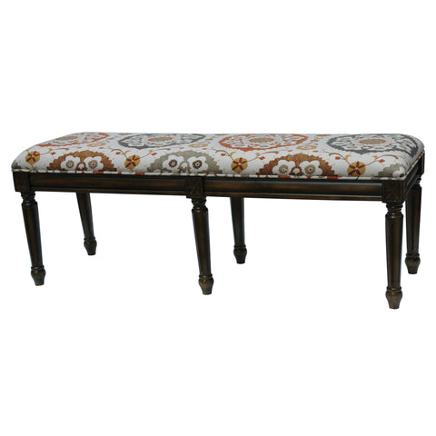 Crestview Hutchison Pattern Fabric Bench CVFZR1477