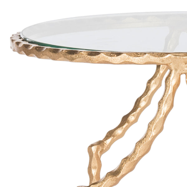 Safavieh Ira Round Gold Leaf End Table FOX2570A