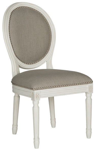 Safavieh Holloway 19''H French Brasserie Linen Oval Side Chair - Silver Nail Heads FOX6228D-SET2