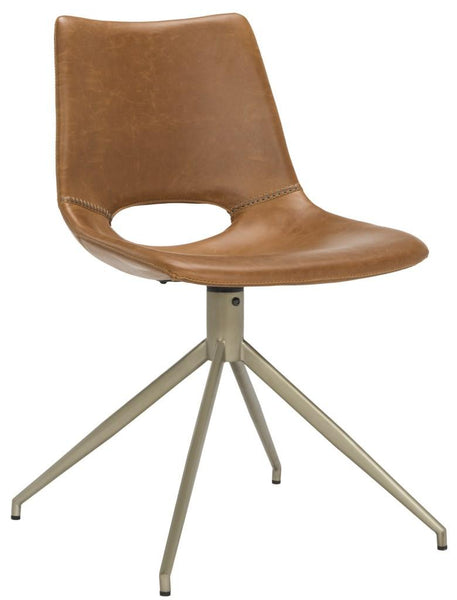 Safavieh Danube Midcentury Modern Leather Swivel Dining Chair ACH7001A-SET2