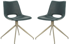 Safavieh Danube Midcentury Modern Leather Swivel Dining Chair ACH7001B-SET2