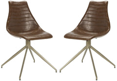Safavieh Lynette Midcentury Modern Leather Swivel Dining Chair ACH7006A-SET2