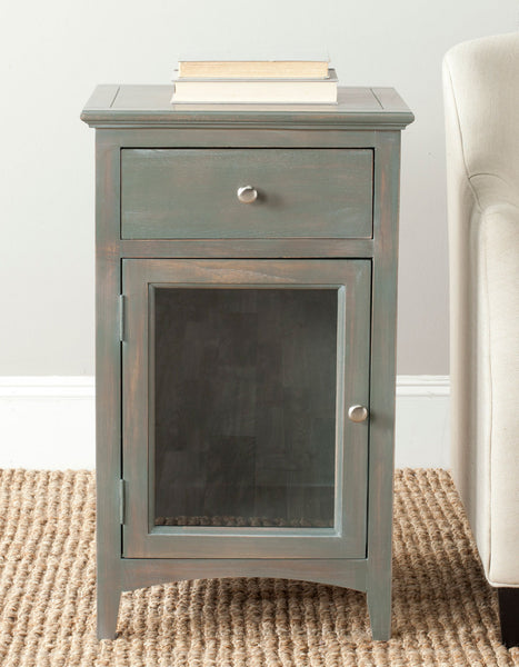 Safavieh Ziva One Drawer End Table W/ Glass Cabinet AMH6630A