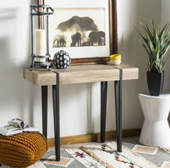 Safavieh Alyssa Rectangular Rustic Midcentury Wood Top Console Table CNS7000A