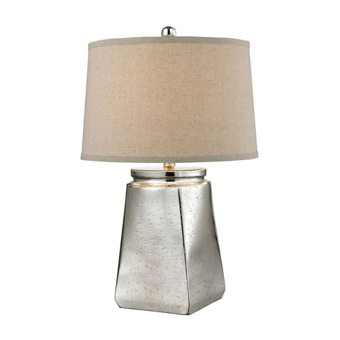 Tapered Square Table Lamp in Silver Mercury