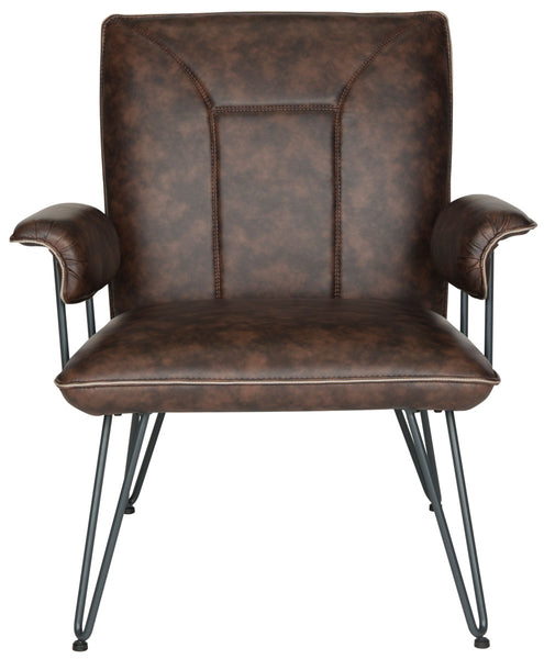"Safavieh Johannes 17.3""H Mid Century Modern Leather Arm Chair FOX1700A"