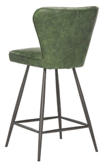 "Safavieh Ashby 26""H Mid Century Modern Leather Tufted Swivel Counter Stool FOX1702B-SET2"