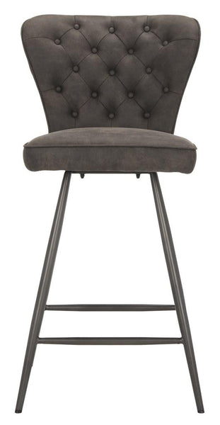 "Safavieh Ashby 26""H Mid Century Modern Leather Tufted Swivel Counter Stool FOX1702C-SET2"